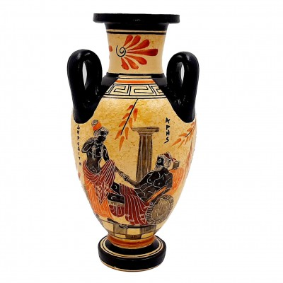 Αμφορέας Αρχαϊκής Περιόδου 22cm τρίχερος, Άρης με Αφροδίτη, Αυλήτρις