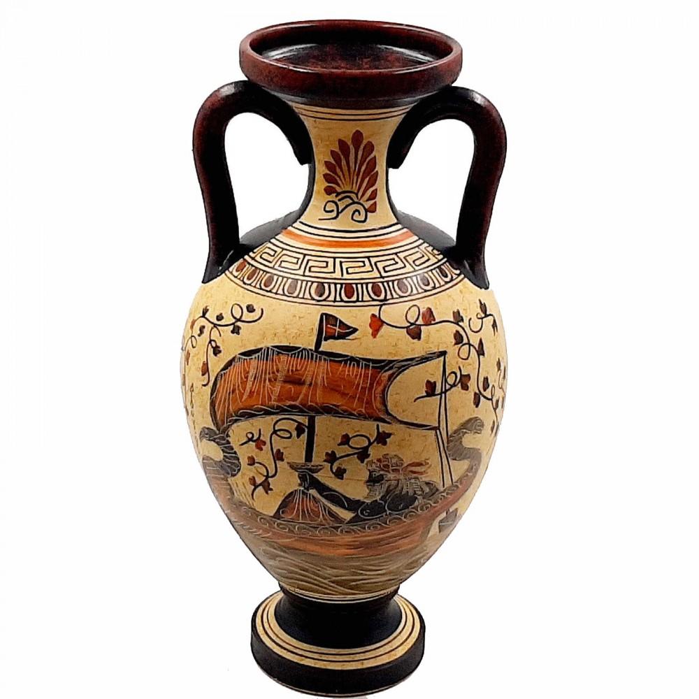 Ancient Greek Amphora Vase 31cm,God Dionysus,Poseidon