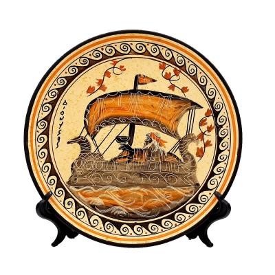 Πιάτο 20cm Αρχαία Ελληνική τέχνη,Θεός Διόνυσος στο καράβι