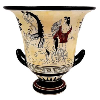 Αττικός Kρατήρας 21cm με Λευκό φόντο,Απεικονίζει τον Αχιλλέα και τον Θεό Διόνυσο