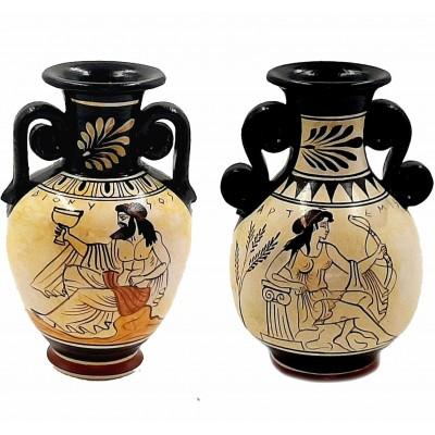 Set of 2 Attic white Greek Vases 13cm,God Dionysus,Goddess Artemis