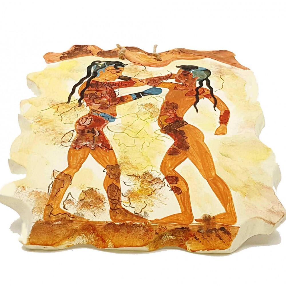 Ceramic Slab (20x25)cm ,Boxers Fresco's Copy from Santorini