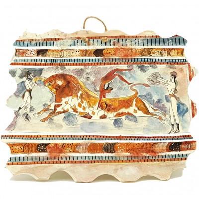 Ceramic Slab(32x26)cm  ,Bull-Leaping Fresco's Copy,Minoan Culture