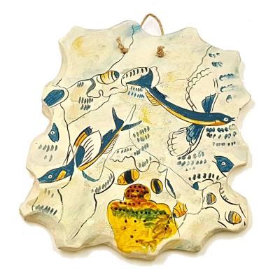 Χελιδονόψαρα,Κεραμική πλάκα ,Αντίγραφο τοιχογραφίας από Φυλακοπή Μήλου.