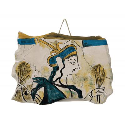 Θεά με τα στάχυα,Κεραμική πλάκα ,Αντίγραφο τοιχογραφίας από το ανάκτορο των Μυκηνών