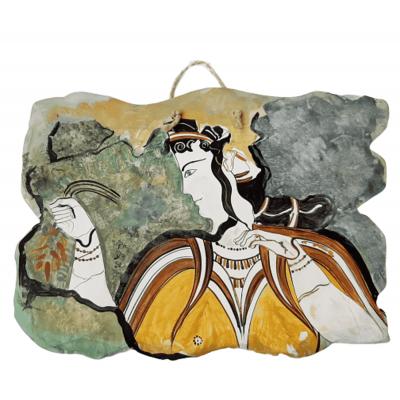 Μυκηναία,Κεραμική πλάκα ,Αντίγραφο τοιχογραφίας από την ακρόπολη των Μυηκηνών