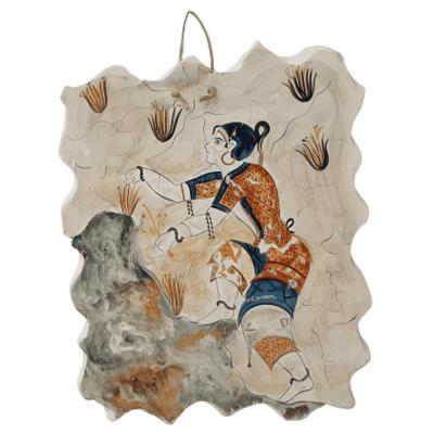 Κροκοσυλλέκτριες ,Κεραμική πλάκα Νο1  Αντίγραφο από τοιχογραφία, Ακρωτρήρι της Θηρας