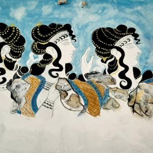 Γαλάζιες κυρίες,Κεραμική πλάκα ,Αντίγραφο τοιχογραφίας από το ανάκτορο της Κνωσού