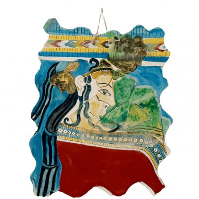Κεραμική πλάκα ,Αντίγραφο από Τοιχογραφία με γυναικεία μορφή από το νεότερο ανάκτορο  Τίρυνθας