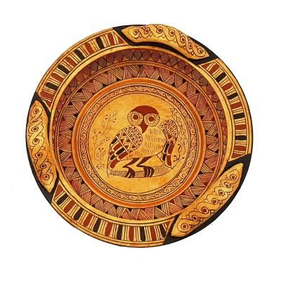 Greek Geometric Pottery basket 18cm Diameter,Owl in the middle
