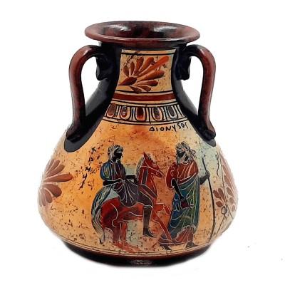 Ancient Greek Pottery vase 15cm ,God Dionysus with God Hermes