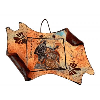 Κεραμικός Πάπυρος 17*13cm  Πολύχρωμο Φόντο,Απεικονίζεται ο Θεός Δόνυσος