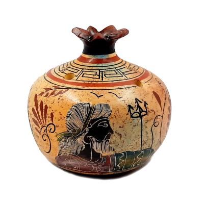 Κεραμικό  ρόδι με κεράκι, και με αλλοιώσεις χρωμάτων,Αφροδίτη,Διόνυσος 11cm