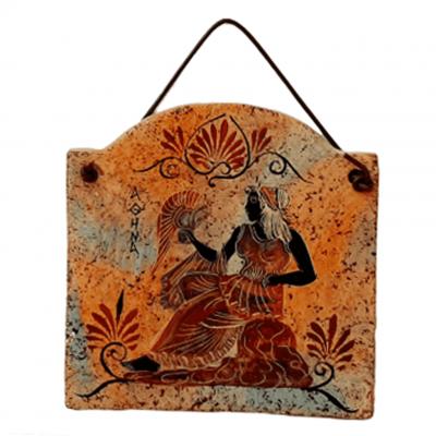 Κεραμική πλάκα 11*12cm  Πολύχρωμο Φόντο,Απεικονίζεται η Θεά Αθηνά
