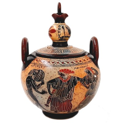 Greek Ceramic Canister 20cm with lid, Satyr with Manaeds