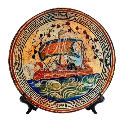 Greek Plate 24cm , Ancient Greek pottery,God Dionysus on ship