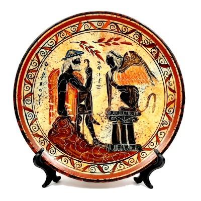 Πιάτο 24cm διάμετρος,Αρχαϊκή Εποχή ,Οιδίπους και Σφίγγα.