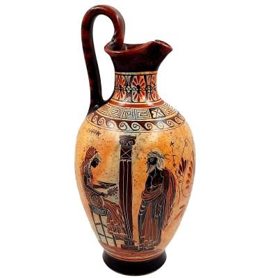 Οινοχόη του βυθού 36cm αρχαϊκής περιόδου ,Αιγέας και Πυθία, Απόλλων και Ερμής