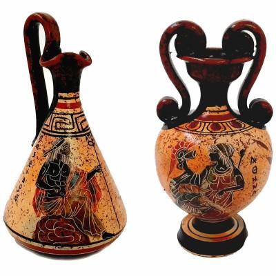Set of 2 Greek Pottery vases 13cm,Multicolored,Ancient Greek Technique