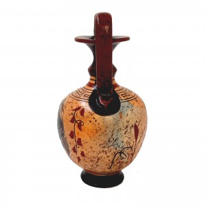 Set of 2 multicolor vases 13,5cm,Ancient Greek Pottery,Shows God Dionysus and Goddess Aphrodite
