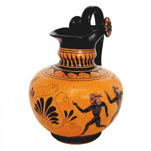Ancient Greek Pottery ,Rhodian Oinochoe 20cm,shows themes from Ancient Olympics