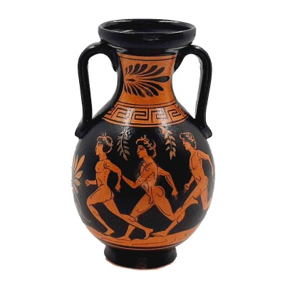 Red figure Pottery Amphora 17cm,Runners from Ancient Olympics