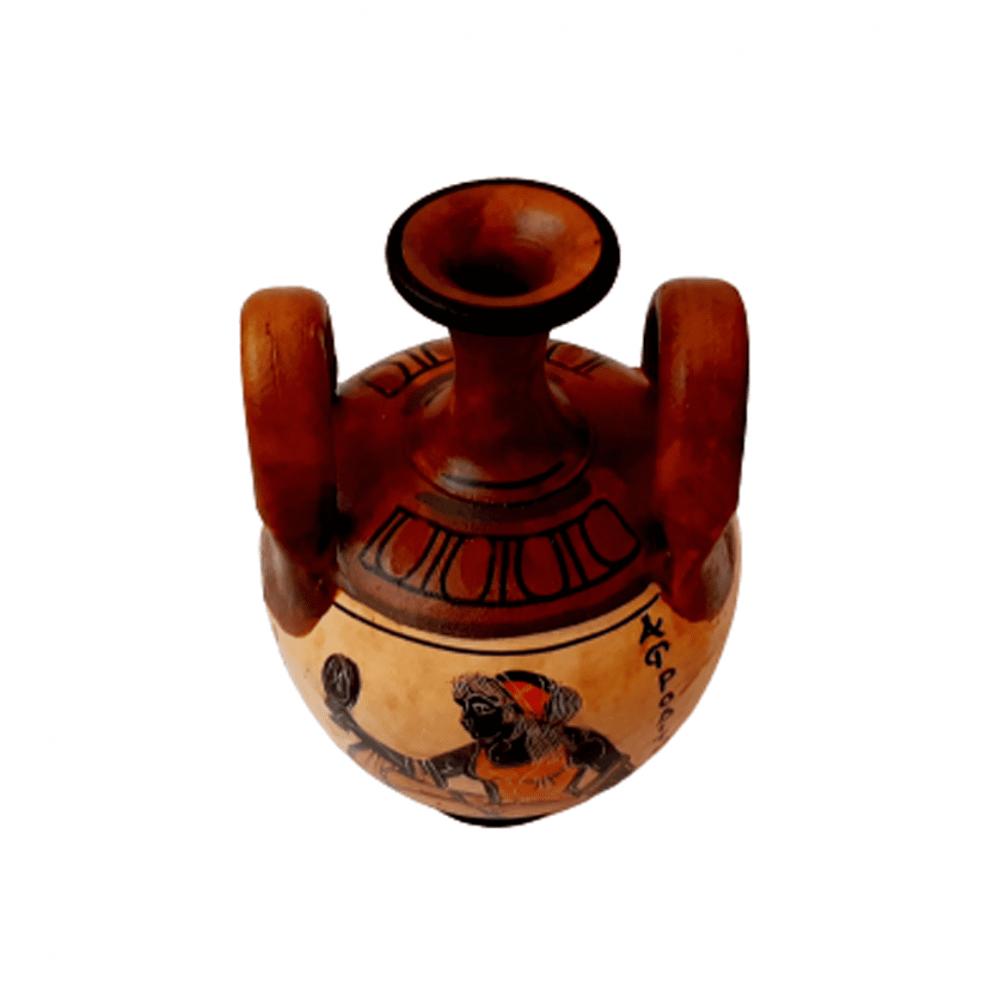 Αρχαίo Ελληνικό βάζο 13cm, Καφέ αποχρώση με την Θεά Αφροδίτη