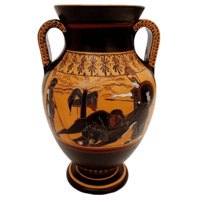 Αττικός Μελανόμορφος Αμφορέας 31cm, Πάλη του Ηρακλή με το Λιοντάρι της Νεμέας.