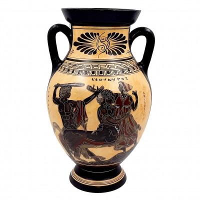 Αμφορέας  μελανόμορφο 31cm ,Ηρακλής Κένταυρος και Δηιάνειρα,Αχελώος