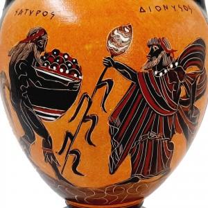 Black Figure Amphora Vase 22cm ,God Dionysus with Satyr,Goddess Artemis