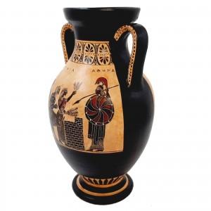 Black Figure Amphora Vase 26cm,Scence of Sacrifice for Goddess Athena