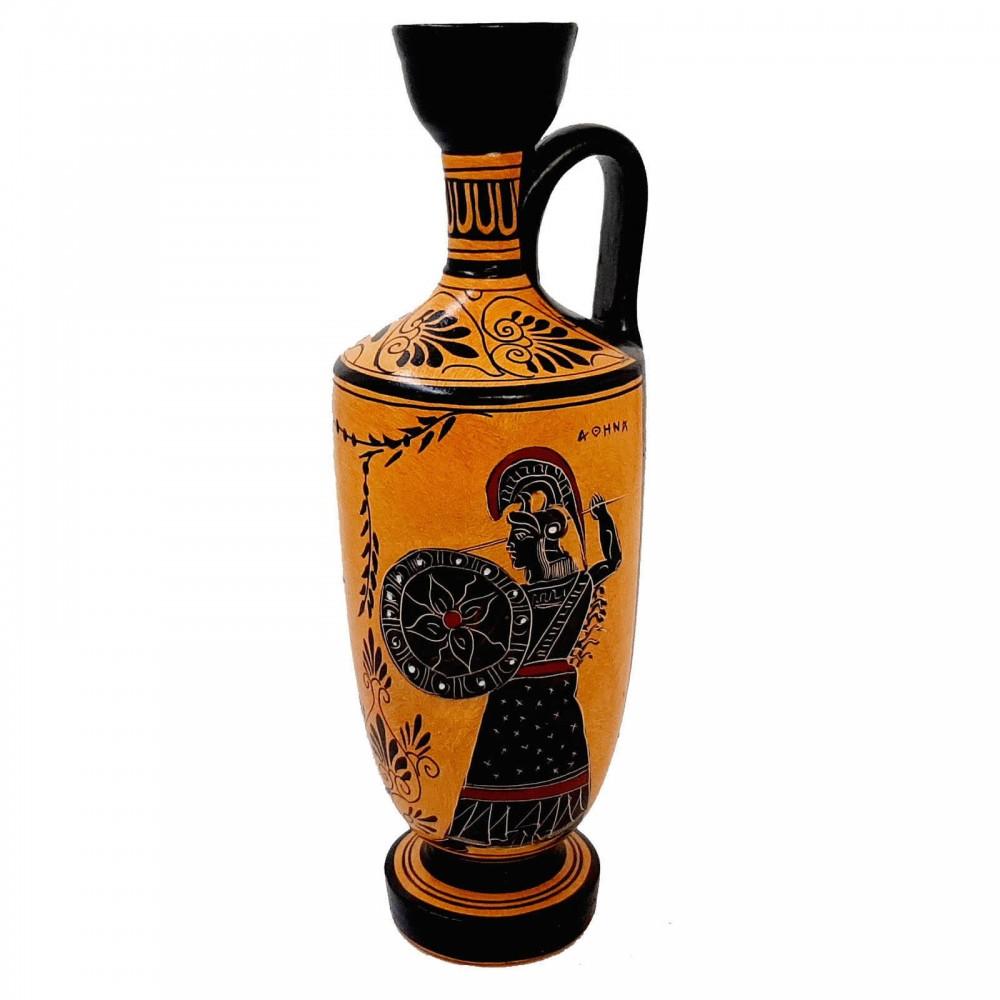 Black Figure Pottery Lekythos 26cm,God Hermes ,Goddess Athena