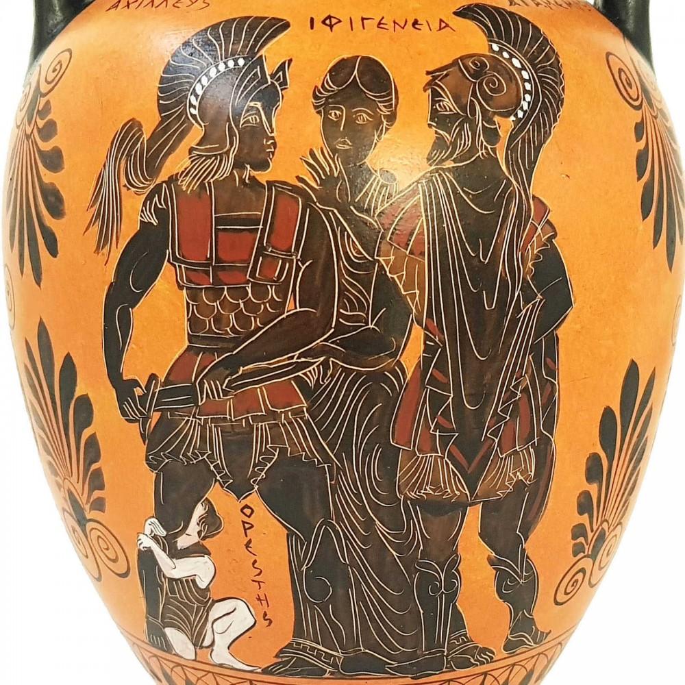 Black figure Pottery Vase,Amphora 31cm, The sacrifice of Iphigeneia