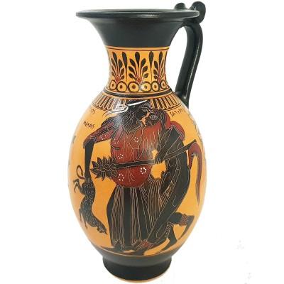 Black figure Pottery Vase 32cm,Satyr with Menas and God Dionysus