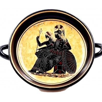 Greek Kylix 26cm,Black figure Pottery, God Poseidon,Goddess Athena