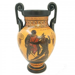 Greek Volute Krater 29,5cm,Black Figure Pottery,Theseus kill minotaur