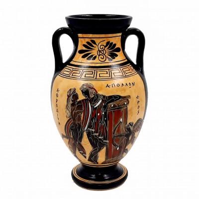Αμφορέας ζάρι μελανόμορφο 22cm ,Απόλλων με Αφροδίτη,Αθηνά