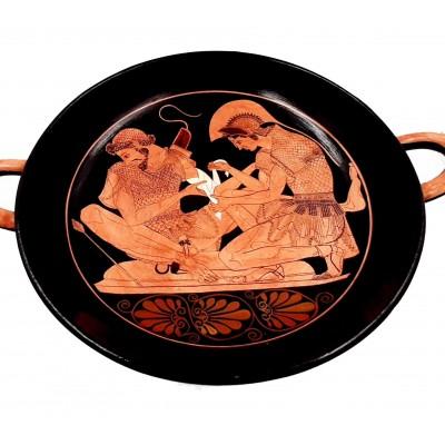 Κύλικας Ερυθρόμορφος 32cm ,Αχιλλέας δένει την πληγή του Πάτροκλου, Ζωγράφος Σωσίας