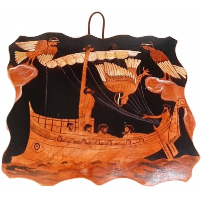 Ceramic Slab (20x17)cm,Red figure Pottery,Odysseus and the Sirens