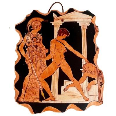 Ceramic Slab 17x20cm,Red figure Pottery,Theseus and the minotaur