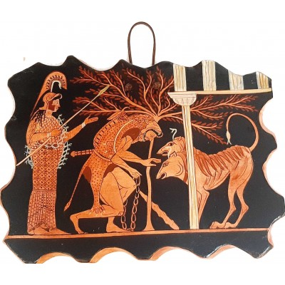 Ceramic Slab 26x20cm,Red figure Painting,Hercules and Cerberus