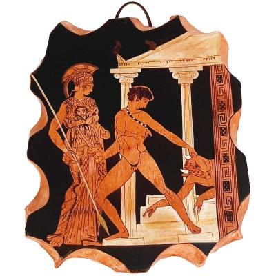 Ceramic Slab 20x26cm,Red figure Pottery,Theseus and the minotaur