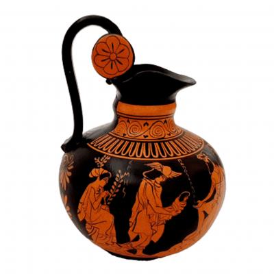 Greek Rhodian Oinochoe 20cm,Red figure pottery,God Dionysus Born