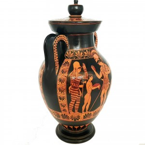 Red Figure Pottery,Museum Replica Amphora, Warrior leaving home