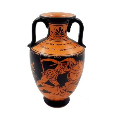 Red Figure Pottery Amphora 17cm Glazed,Leonidas in the battle