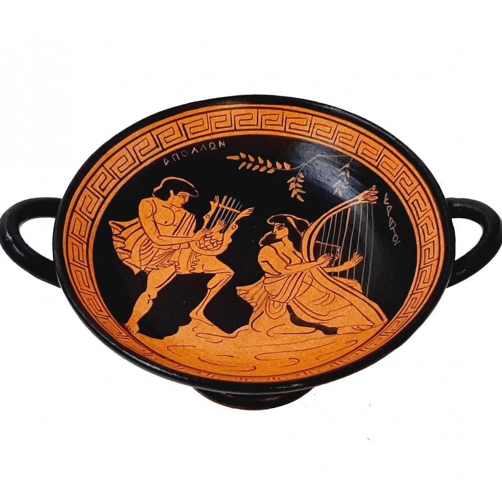 Red Figure Pottery Kylix 16cm,God Apollo with Erato