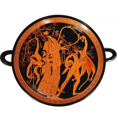 Red figure Pottery Kylix 20cm,God Dionysus with dancing Satyrs