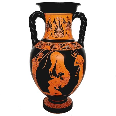 Red figure Pottery Vase 36cm,Hercules with Lion,God Hermes with Goddess Artemis