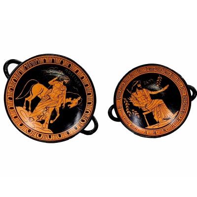 Σετ από 2 Κύλικες ερυθρόμορφους, Ποσειδώνας και Δίας