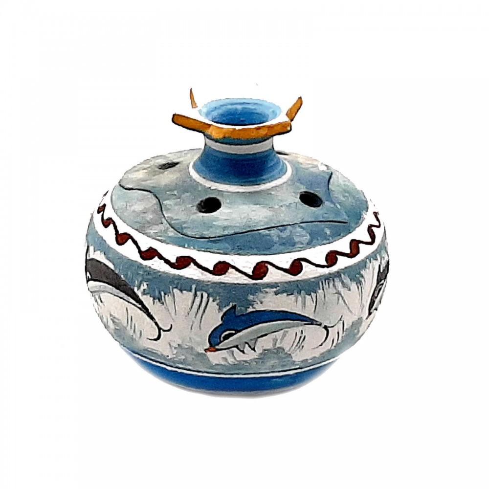 Ceramic Pomegranates 9cm with candle,Minoan Art Pottery